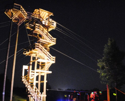 Grand Vue Park Night zip line tower