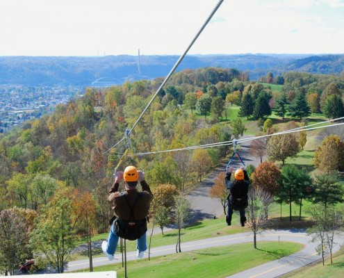 Zip line overlooking the valley