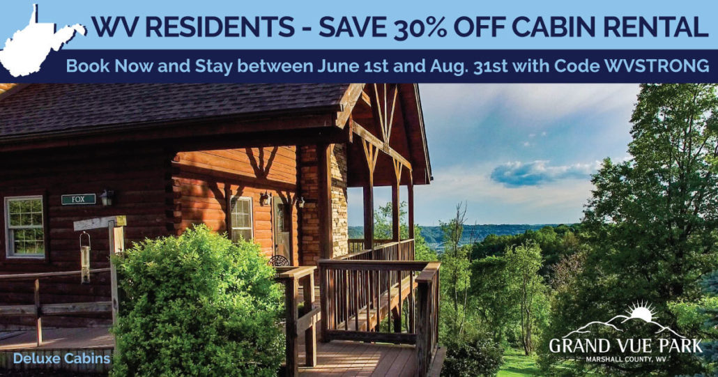 WV Residents 30% off Cabins
